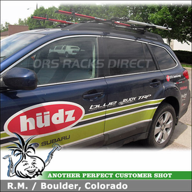 2010 Subaru Outback Bike Roof Rack using Thule 45058 CrossRoad System & RockyMounts PitchFork Bike Racks