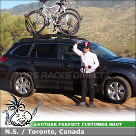 2010 Subaru Outback Factory Rack Mount Bike Racks using Yakima Frontloader & Yakima High Roller