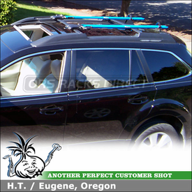 2010 Subaru Outback Factory Roof Rack Mount Bike Racks using RockyMounts TieRod Bicycle Carriers