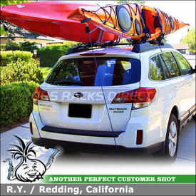 2010 Subaru Outback Kayak Racks for Factory Rack using Thule 835XTR Hull-a-Port J-Cradles