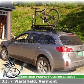 2010 Subaru Outback Roof Rack Basket & Bike Rack using Yakima MegaWarrior Basket & Boa Short Tray