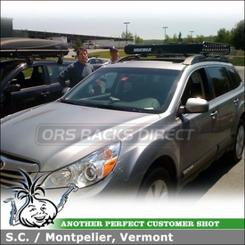 2010 Subaru Outback Roof Rack Luggage Basket using Yakima MegaWarrior Cargo Roof Basket