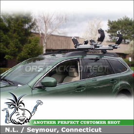 2010 Subaru Outback Wagon Roof Rack Kayak Carrier using Thule 450 Crossroad System & Thule 897XT Hullavator Kayak Rack