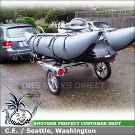 2010 VW Jetta Fishing Pontoon Boat Trailer with Cargo Box using Yakima RACK and ROLL 66 Trailer, Mako Aero Saddles & RocketBox 16