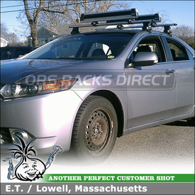 2011 Acura TSX 4-Door Ski Snowboard Mount Rooftop Rack Using Thule 480R, 1492 Fit Kit, AeroBlades and 92726 Pull Top