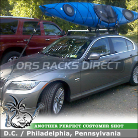 2011 BMW 335xi Universal OEM Roof Rack with Folding Kayak Cradles