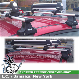 2011 Ford Fiesta Snowboard-Ski Roof Rack System using Thule 480R Rapid Traverse (w/ 1503 Fit Kit & ARB47 AeroBlade Bars) and 92725 Flat Top