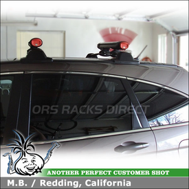 2011 Honda CR-V Factory Rack Mount Ski Rack using Yakima FatCat 4 Ski-Snowboard Carrier