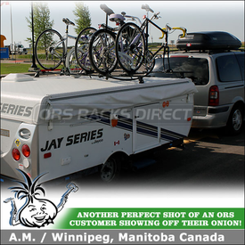 2011 Jayco Jay 1007 Pop Up Tent Trailer Roof Bike Racks and 2000 Chevy Venture Cargo-Luggage Box On Factory Crossbars