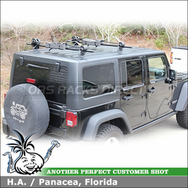 2011 Jeep Wrangler Rubicon Unlimited Hard Top Roof Tracks Rack & Boat Carrier using Yakima Tracks, Control Towers, LP1 Landing Pads & Inno INA444 Boat Locker