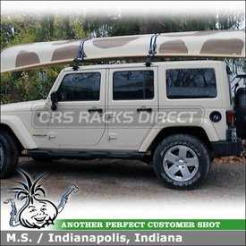 2011 Jeep Wrangler Sahara Canoe Roof Rack for Raingutters using Thule 300 Gutter Foot Pack, LB58 Load Bars & 579XT Gunwale Brackets