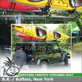 2011 Jeep Wrangler Unlimited Kayak Roof Rack for Sahara Hardtop using Yakima 1A Rain Gutters Rack & HullRaiser Kayak Cradles