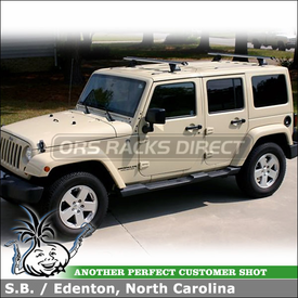 2011 Jeep Wrangler Unlimited Roof Tracks Rack System using Thule TB60 Tracks and Whispbar T17 HD Bar (w/ K450 Fitting Kit)