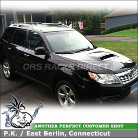 2011 Subaru Forester with Whispbar Rooftop Vehicle Rack Aerodynamic Cross Bars for Raised Side Rails