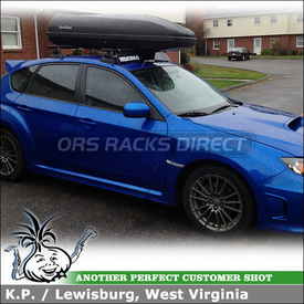 "2011 Subaru Impreza WRX Hatchback Roof Rack + Cargo Box using Yakima Control Towers (w/ Landing Pads 11 & 48"" Crossbars), 44"" Wind Fairing & Luggage Gear Box"