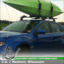 "2011 Subaru Impreza WRX Roof Rack + Kayak Carrier for 2 Kayaks using Yakima Control Towers (w/ Landing Pads 11 & 48"" Crossbars), Inno INA450 & ISF715 Adapters"