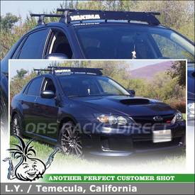 "2011 Subaru Impreza WRX Sedan Car Roof Rack + Wind Fairing using Yakima Control Towers (w/ Landing Pads 11, 48"" Crossbars) & 44"" Fairing"