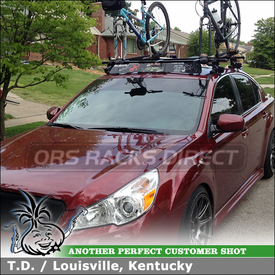 2011 Subaru Legacy Roof Rack Bike Mounts & Wind Fairing using Inno INSU Stays, K320 Fit Hooks, B137 Crossbars, INA262 Faring & Yakima Copperhead Bike Racks