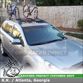 2011 Subaru Outback Bike Racks and Wind Fairing for Factory Cross Bars using RockyMounts TieRod and  Inno Car Faring