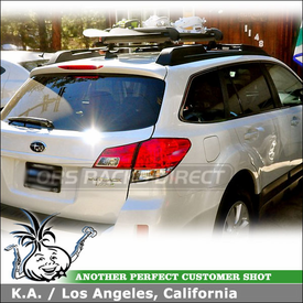 2011 Subaru Outback Factory Cross Bars Mounted Ski-Snowboard Rack using Yakima Big Powderhound & Inno Wind Fairing
