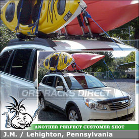 2011 Subaru Outback Kayak Racks Mounted to the Factory Rack Cross Bars