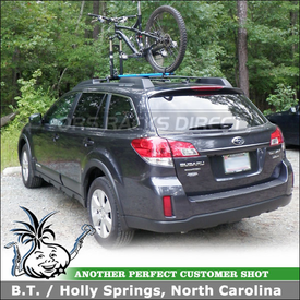 2011 Subaru Outback Roof Bike Rack using RockyMounts TieRod Factory Rack Mount Bicycle Carrier