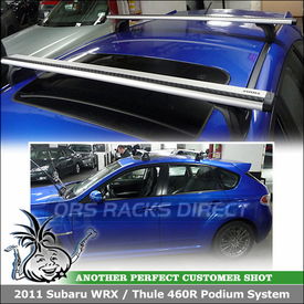 2011 Subaru WRX 5DR HatchBack Roof Rack Cross Bars for Fixpoints using Thule 460R Rapid Podium Foot Pack, 3068 Fit Kit & ARB47 AeroBlade Bars
