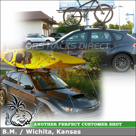 2011 Subaru WRX Roof Rack Cross Bars + 2 Kayak Holders & Bike Mount using Whispbar S16 Through Bar, K368 Fitting Kit, Frontloader & Hull-a-Ports
