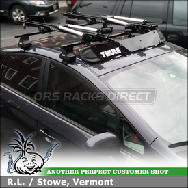 "2011 Toyota Prius Car Rack Crossbars and 2 Bike Racks using Thule 480 Traverse Foot Pack, 1566 Fit Kit & 50"" Load Bars, 872XT Fairing and Thule 599XTR Big Mouth Bicycle Carriers"