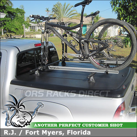 2011 Toyota Tacoma Tonneau Cover Bike Racks using Thule 430 Foot Pack, TK13 Tracker Kit, LB50 Bars & RockyMounts Bike Racks