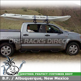 2011 Toyota Tundra Crew Max Pickup Truck Kayak Roof Rack using Thule 480R Rapid Traverse (w/ 1555 Fit Kit & ARB60 AeroBlade Cross Bars), 881 Top Deck Kayak Saddles