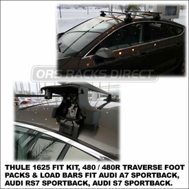 2012 Audi A7 Roof Rack using Thule 480 Traverse (includes Foot Pack, 1625 Fit Kit & LB58 Bars - also fits Audi RS7, S7 Sportback)