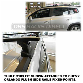 2012 Chevy Orlando Roof Rack using Thule 460 Podium (includes Foot Pack, 3103 Fit Kit & LB50 Load Bars)