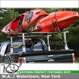 2012 Ford F-150 Lariat Pickup Truck with Height-Adjustable Bed Rails Rack for Two Kayaks