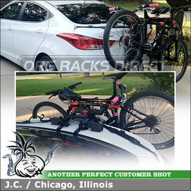 2012 Hyundai Elantra 4-Door Sedan Trunk Mounted Strap Rack for Three Bikes