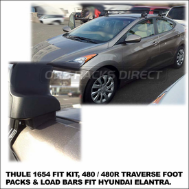 2012 Hyundai Elantra Roof Rack using Thule 480 Traverse (includes Foot Pack, 1654 Fit Kit & LB50 Bars)