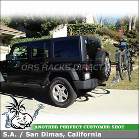 2012 Jeep Wrangler Unlimited Trailer Hitch Bike Rack using Thule 9042 Helium Aero 2 Bike Hitch Rack