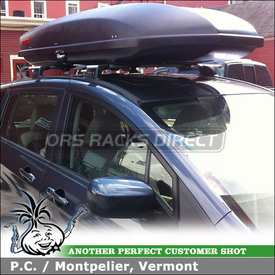 2012 Mazda 5 Roof Rack Cargo Box System using Whispbar S16 Through Bar, K500 Fit Kit and Yakima Sky Box 18
