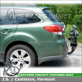 "2012 Subaru Outback Trailer Hitch Bike Rack for 2"" Receiver Hitches using Yakima HoldUp Platform Bike Rack"