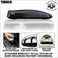 2012 Thule 685BXT Atlantis 1200 Roof Box (Black) - Premium Car RoofTop Narrow Cargo Box
