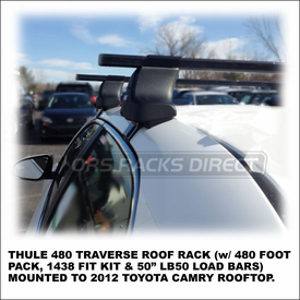 2012 Toyota Camry Car Rack using 480 Traverse Foot Pack, 1438 Fit Kit and LB50 Square Cross Bars