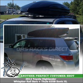 2012 Toyota Highlander Side Rails Roof Rack + Cargo Box System | Whispbar S47 Rail Bar, 635B Thule Sonic XL