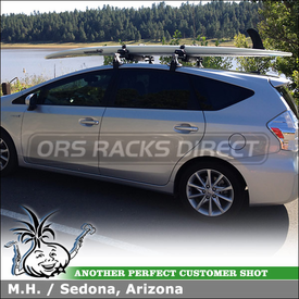 2012 Toyota Prius V Roof Rack + Locking SUP Carrier using Inno IN-SU (w/ Stays, K406 Fit Hooks, B127 Cross Bars) & INA446 Locking SUP-Canoe-Kayak Rack