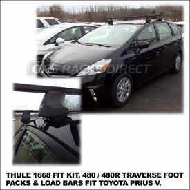2012 Toyota Prius V Roof Rack using Thule 480 Traverse (includes Foot Pack, 1668 Fit Kit & LB50 Bars)