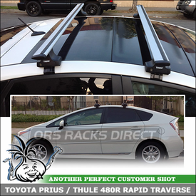 2012 Toyota Prius with Thule Car Rack for Glass Roof - Solar Rooftop