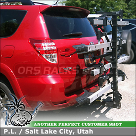"2012 Toyota RAV4 Trailer Hitch Bike Rack using Thule 916XTR T2 and 918XTR T2 2 Bike Add-On for 2"" Trailer Hitches"