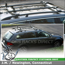 2012 Volkswagen Jetta TDI Roof Bike Racks System using Whispbar S53 Rail Bar Crossbars & RockyMounts Euro PitchFork