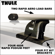2013 Thule 460R Rapid Podium Car Rack w/ Rapid Aero Bars - fits Fixed-Point Attachments, Flush Side Rails & Roof Tracks