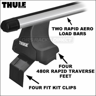 2013 Thule 480R Rapid Traverse Roof Rack w/ Rapid Aero Bars - Complete Car Rack System for Vehicles With No Factory Rack, Gutters, SideRails etc.
