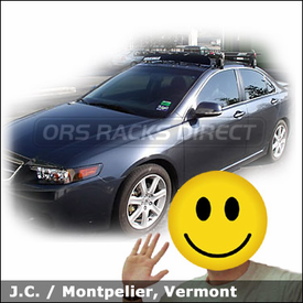 "Acura TSX with Yakima Q Towers Roof Rack, Yakima 44"" Fairing, Yakima Viper Bike Rack and Yakima BasketCase Luggage Rack"